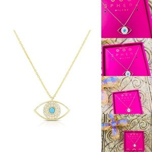 Sphera Milano Open Evil Eye Necklace sterling new